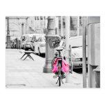 Pink Fahrrad Postkarte