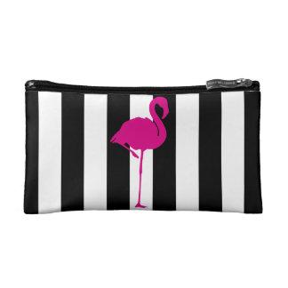 Pink-Flamingo auf Schwarzweiss-Streifen Makeup-Tasche
