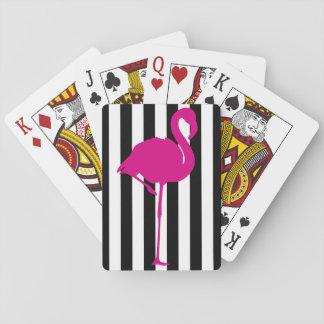Pink-Flamingo auf Schwarzweiss-Streifen Spielkarten
