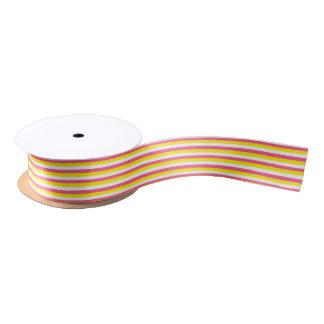 Pink-, Gelbe und weißestreifen Satinband