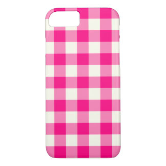 Pink-Gingham-Muster iPhone 7 Fall iPhone 8/7 Hülle