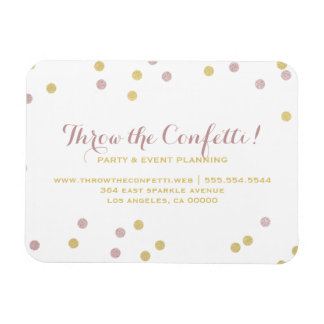 Pink & Gold Confetti Dots Business Magnet