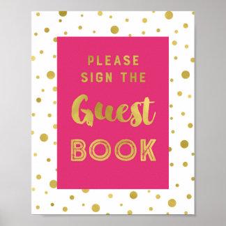 Pink-Goldconfetti-Gast-Buch-Hochzeits-Zeichen Poster