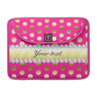 Pink-Goldfolien-Tupfen-Diamanten MacBook Pro Sleeve