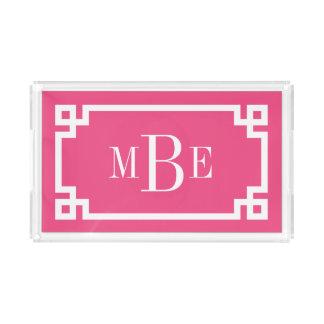 Pink-griechisches Schlüsselgrenzmonogramm Acryl Tablett