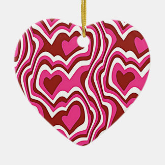 Pink Hearts Keramik Herz-Ornament