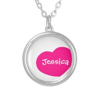 Pink-Herz-Halskette Halskette Mit Rundem Anhänger