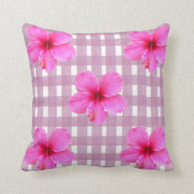 Pink Hibiscus on Gingham Throw Pillow