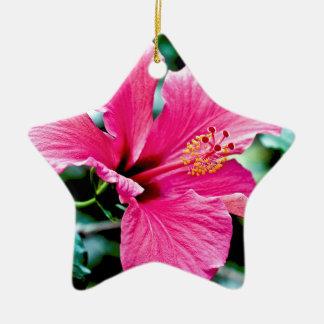 Pink Hibiskus Keramik Ornament