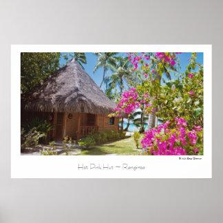 Pink-Hütte ~ Rangiroa ~ Reise-Plakat Poster