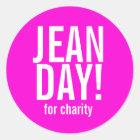 Pink-Jean-Tagesaufkleber Runder Aufkleber