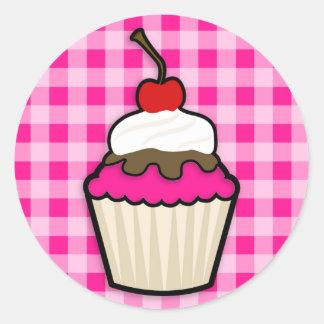 Pink-kleiner Kuchen Runder Aufkleber