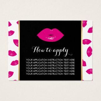 Pink-Lippenmuster-Anwendungs-Anweisungen Visitenkarte