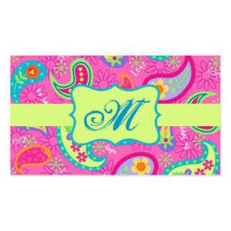 Pink-moderne Paisley-Muster-Monogramm-Initiale Visitenkarten