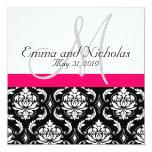 Pink-Monogramm-Damast-Hochzeits-Einladung Quadratische 13,3 Cm Einladungskarte