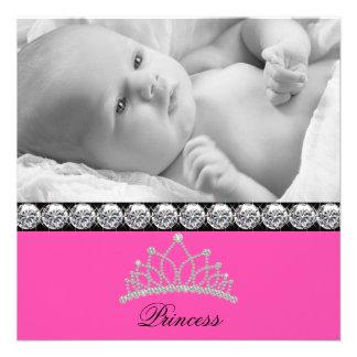 Pink-Prinzessin Baby Birth Announcements Individuelle Ankündigskarten