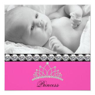 Pink-Prinzessin Baby Birth Announcements Quadratische 13,3 Cm Einladungskarte