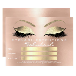 Pink Rose Gold Blush Skinny Eyes Lashes Gift Card Karte