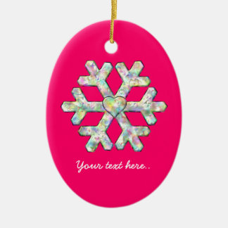 Pink-Schneeflocke-Rosa-Weihnachten Keramik Ornament