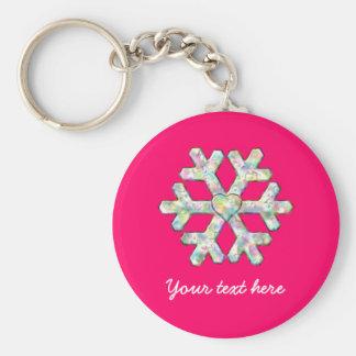 Pink-Schneeflocke-Rosa-Weihnachten Schlüsselanhänger