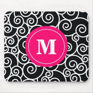 Pink-Schwarz-Strudel-Monogramm-Mausunterlage Mauspad