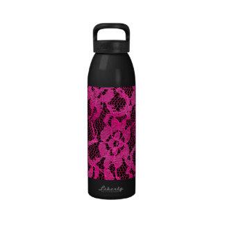Pink/schwarzer Spitze-Blick Wiederverwendbare Wasserflasche