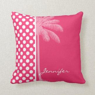 Pink-Tupfen; Sommer-Palme Kissen