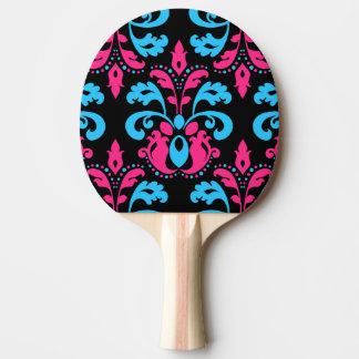 Pink-Türkis und schwarzer Damast Tischtennis Schläger