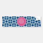 Pink u. blaue geometrische Muster-Monogramme Auto Sticker