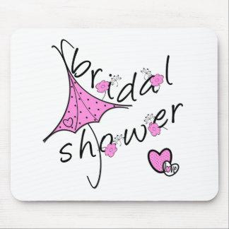 Pink Umbrella Bridal Shower Mouse Mat