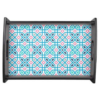 Pink und blaues geometrisches Muster Tablett