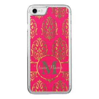 Pink und Golddamastmonogramm Carved iPhone 7 Hülle
