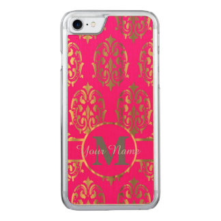 Pink und Golddamastmonogramm Carved iPhone 8/7 Hülle