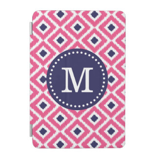 Pink und Marine Ikat Diamant-Gewohnheits-Monogramm iPad Mini Hülle