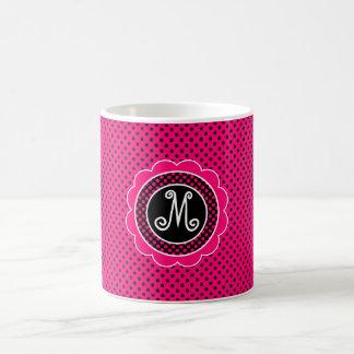 Pink-und Schwarz-Tupfen-Muster mit Monogramm Kaffeetasse