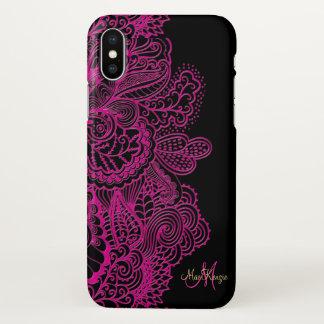 Pink und Schwarzes schnüren sich Monogramm iPhone iPhone X Hülle