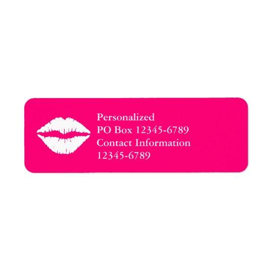 Pink-und Weiß-Lippenstift Rücksendeetiketten