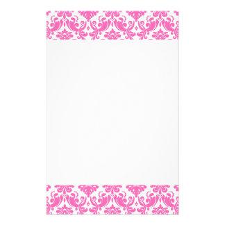 Pink-und weißeselegantes Damast-Muster Personalisiertes Büropapier