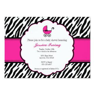 Pink und Zebra-Druck-Babyparty-Einladung 12,7 X 17,8 Cm Einladungskarte