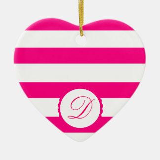 Pink Weiß gestreift personalisiert Monogramm Keramik Herz-Ornament