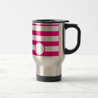 Pink Weiß gestreift personalisiert Monogramm Reisebecher