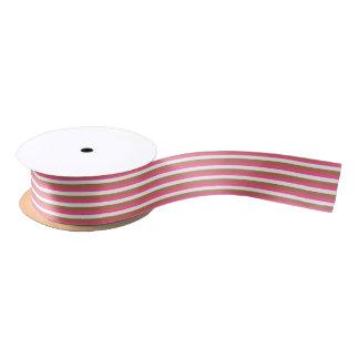 Pink, Weiß und Brown-Streifen Satinband