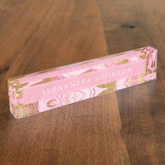 Pink, Weiß und Goldfolien-moderner Marmor Namensplakette
