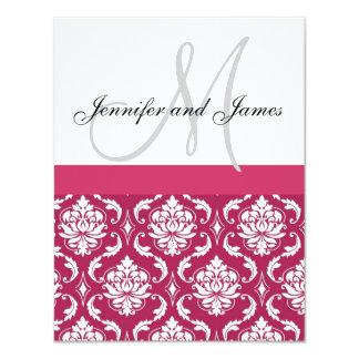 Pink-weiße Damast-Monogramm-Hochzeits-Einladung 10,8 X 14 Cm Einladungskarte