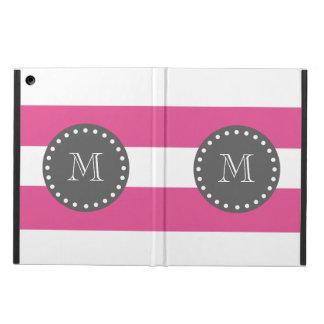 Pink-weiße Streifen Muster, Holzkohlen-Monogramm