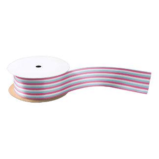 Pink-, weiße und blaue Pastellstreifen Satinband