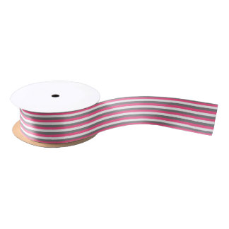 Pink-, weiße und Koksgrauestreifen Satinband
