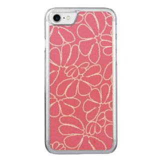 Pink wunderliches Ikat Blumengekritzel-Muster Carved iPhone 8/7 Hülle