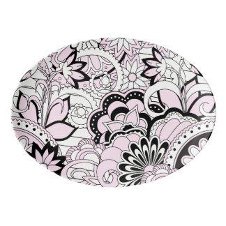 pink Zen pattern Porzellan Servierplatte