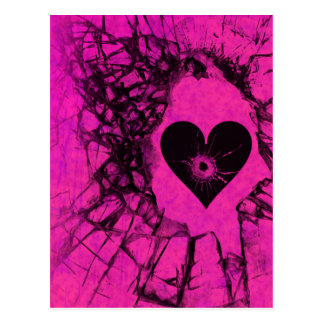 Pink zerbrochene defektes Herz-Postkarte Postkarte